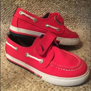 Nautica Red Canvas Boat Shoes